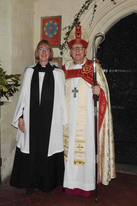 Joy Cousans with the Bishop of St Albans