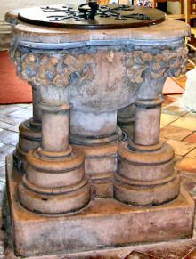 The Font, just inside the South Door of St Marys Eaton Bray